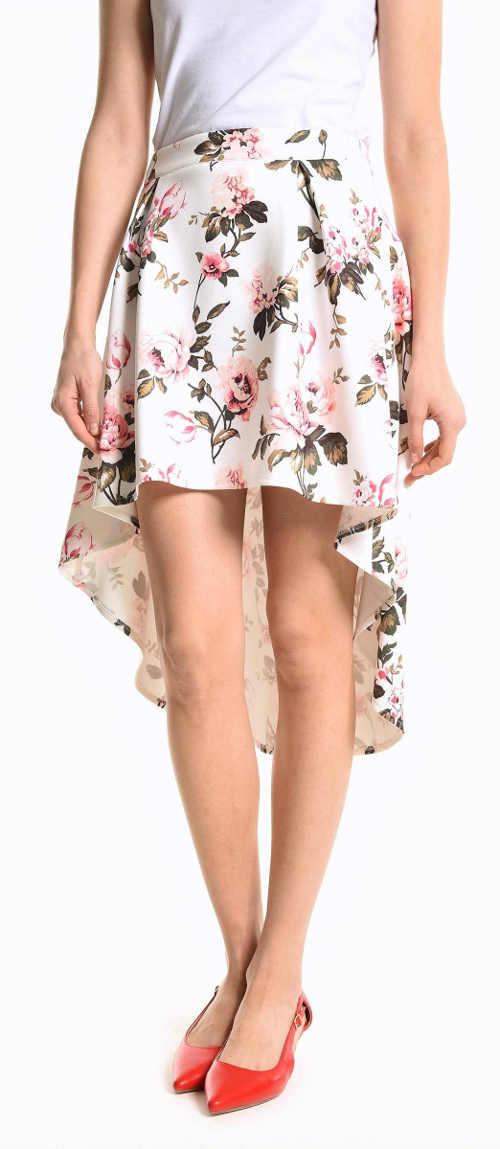 Asymetrická letná sukňa s dlhším chrbtom