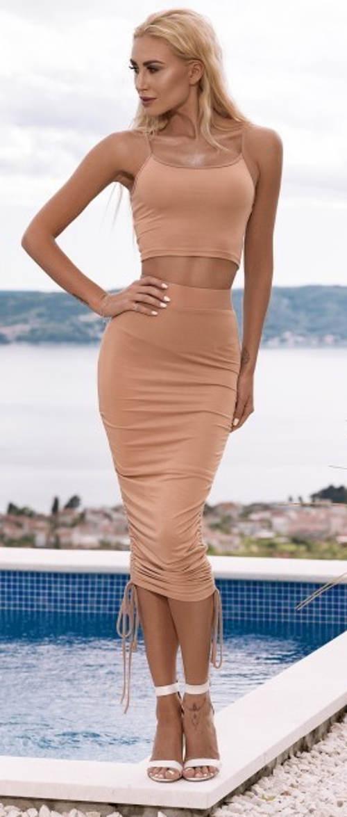Broskyňová letná sukne s nastaviteľnou dĺžkou