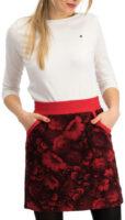 Červená tepláková sukňa s kvetinovou potlačou