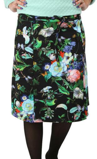 Čierna kvetinová zavinovacie sukne