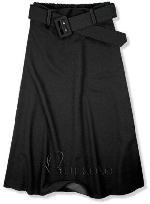 Čierna midi sukňa s opaskom
