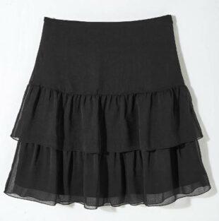 Čierna vrstvená voálová sukne