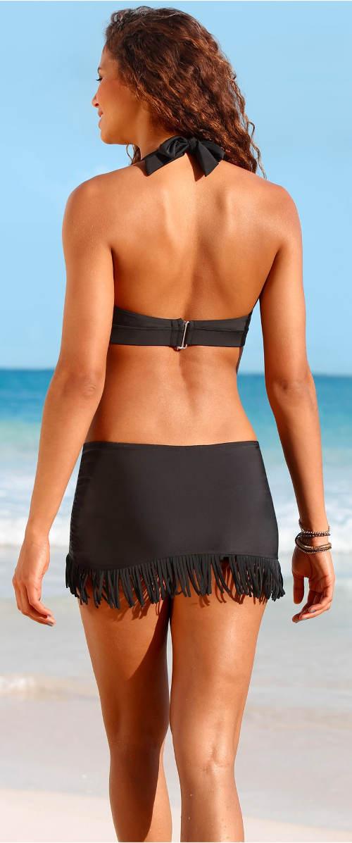 Čierne dámske plavky so sukňou