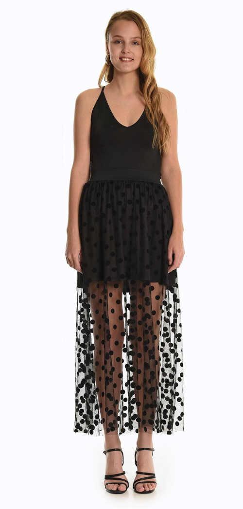 Dámska kombinovaná sukňa s bodkovaným vzorom