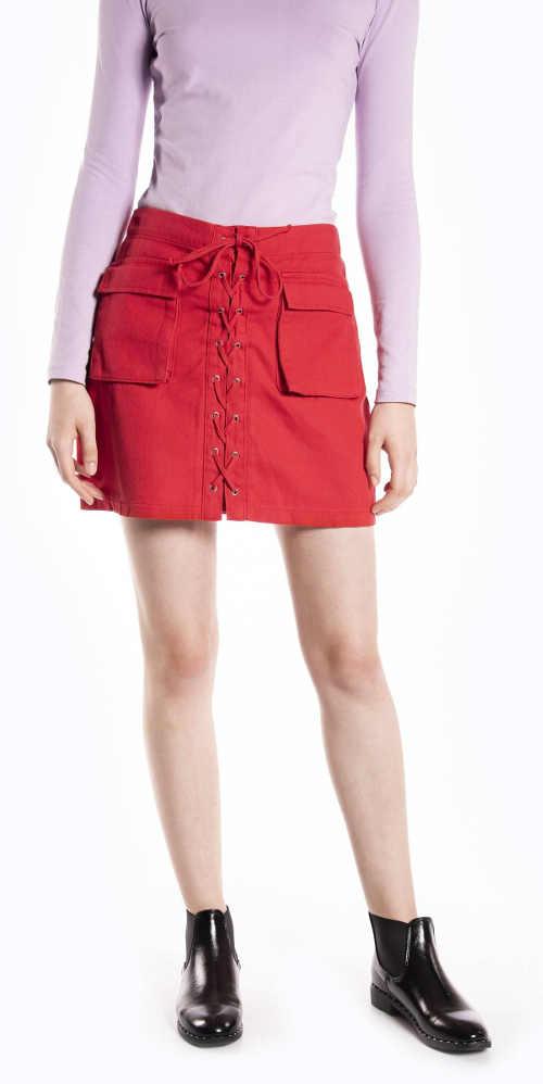 Dámska riflová sukňa s viazačkou