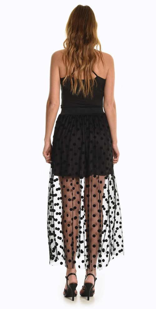 Dlhá čierna sukňa s bodkovaným vzorom
