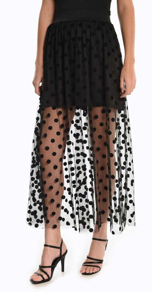 Dlhá dámska sukňa v rafinovanom strihu s modernou bodkou