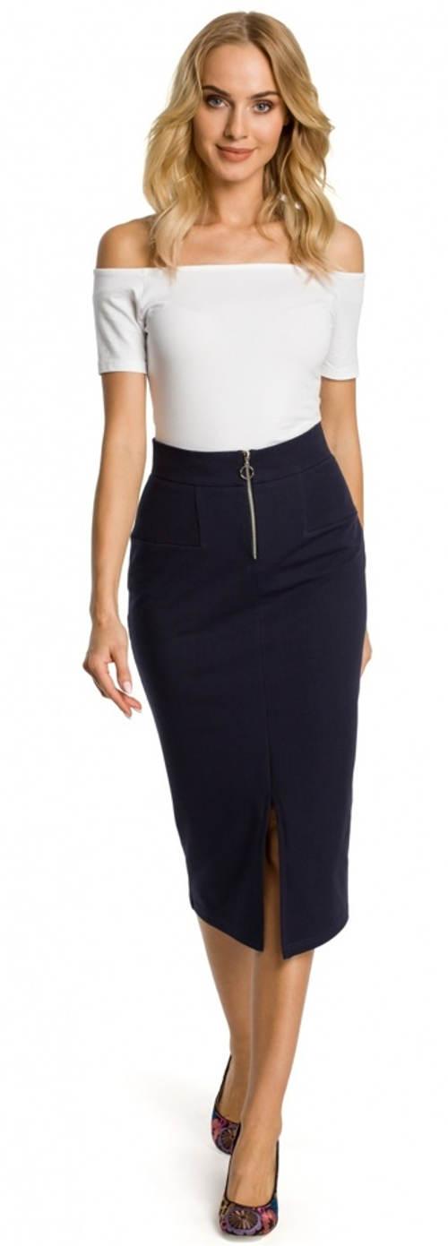 Obtiahnutá puzdrová spoločenská sukňa s vyšším pásom