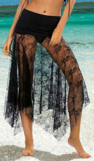 Plážová dámska sukňa z priesvitnej čiernej čipky