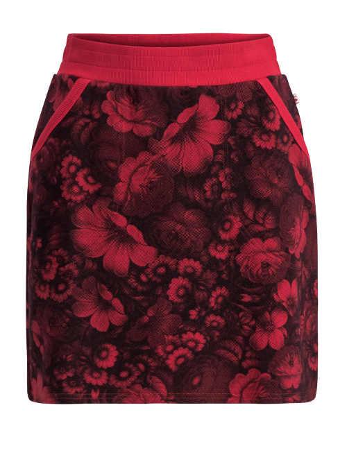 Tepláková sukňa s kvetinovým motívom a bočnými vreckami