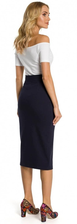 Tmavo modrá spoločenská midi sukňa