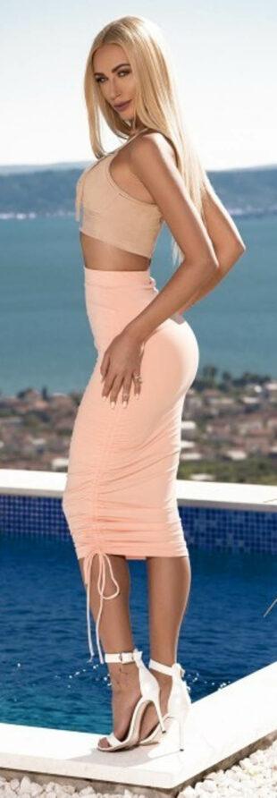 Vypasovaná vysoká sukne so sťahovacou šnúrkou