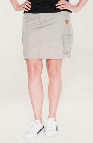 Bavlnená voľnočasová sukne v krátkej dĺžke s vreckami