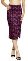 Čierna puzdrová midi sukňa potlačou ružových pusiniek