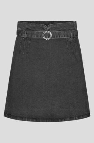 Dámska štýlová mini sukňa z šedého denimu s pásikom