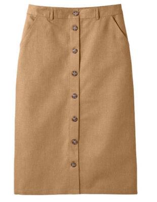 Dámska sukňa rovného strihu vpredu s gombíkovou légou