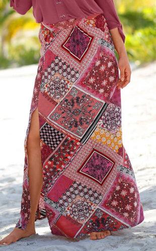 Dlhá patchworková letná sukne