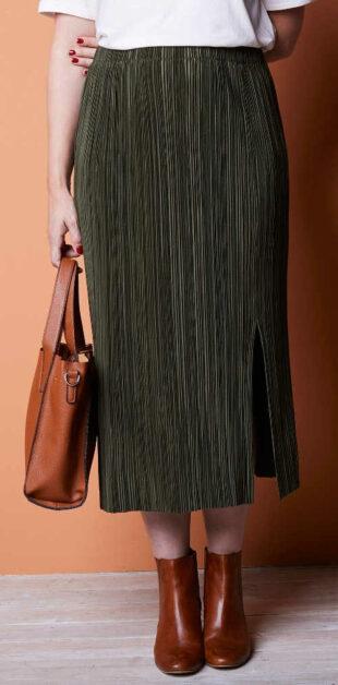 Dlhá plisovaná khaki sukne