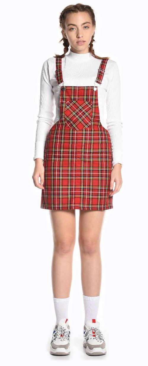 Károvaná dámska laclová sukňa s traky