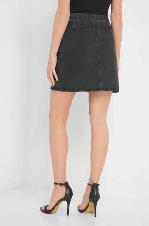 Mini sukňa zo šedého denimu s pásikom