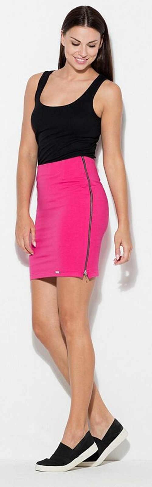 Ružová dámska sukňa s dlhými bočnými zipsami