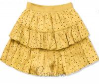 Žltá vrstvená bodkovaná sukne