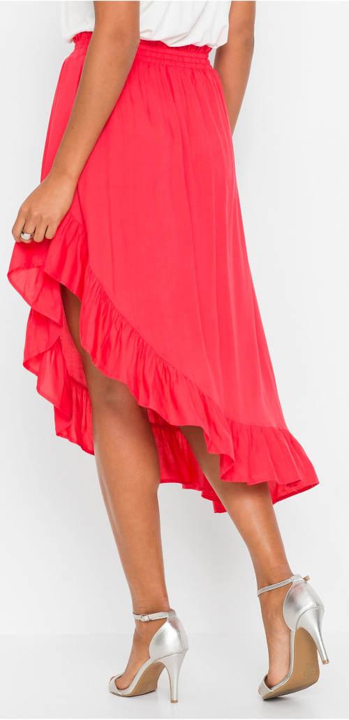 Červená asymetrická letná sukne