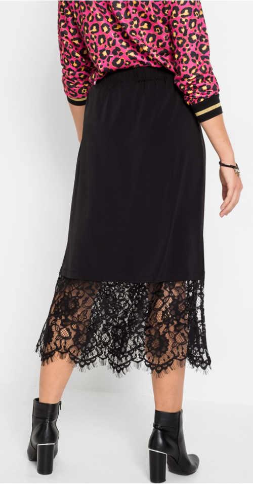 Čierna čipkovaná gothic sukne