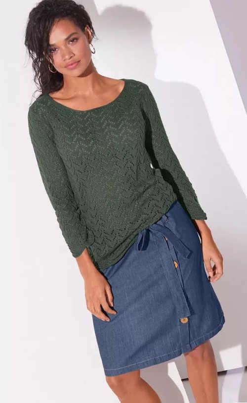 Dámska džínsová sukňa pre celoročné nosenie