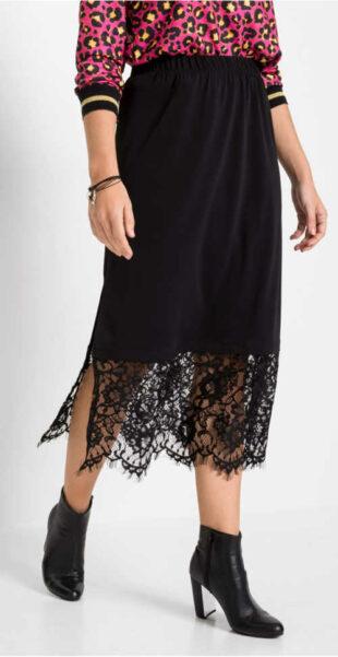 Dlhá čierna sukňa s čipkovaným spodným dielom