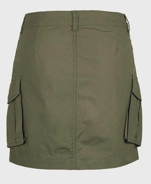 Krátka dámska khaki sukňa s veľkými bočnými vreckami