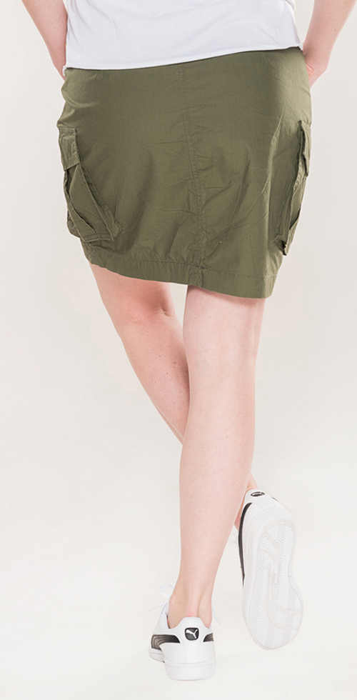 Moderná dámska khaki sukňa balónového strihu
