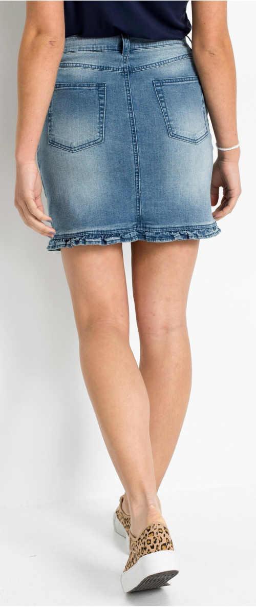 Moderná letná džínsová minisukňa