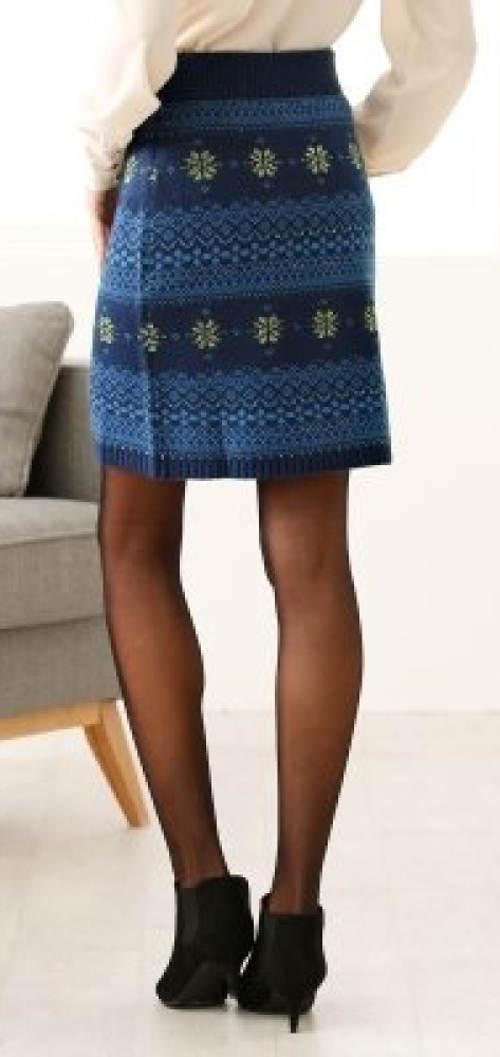 Modrá pletená dámska sukňa