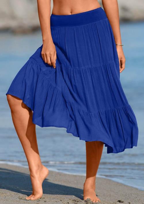 Modrá vzdušná sukňa k moru
