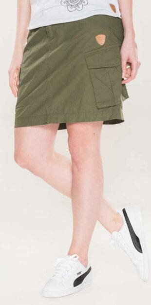 Pohodlná športová khaki dámska sukňa s veľkými vreckami