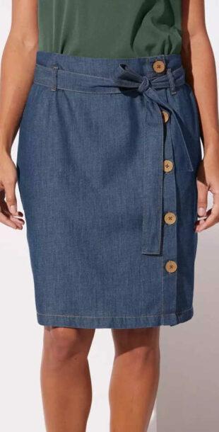 Prepínacia džínsová sukňa s gombíkmi a zaväzovacím opaskom