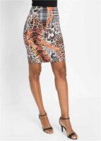 Puzdrová sukne nad kolená v modernom zaujímavom potlače