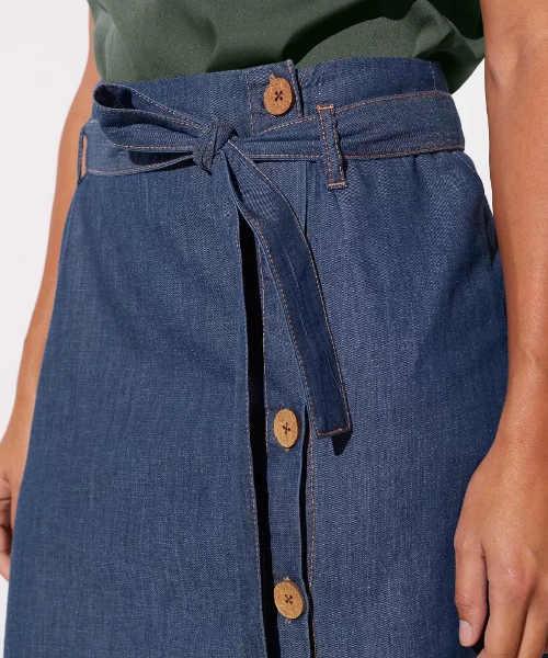 Riflová sukňa s opaskom zaväzovacím na uzol