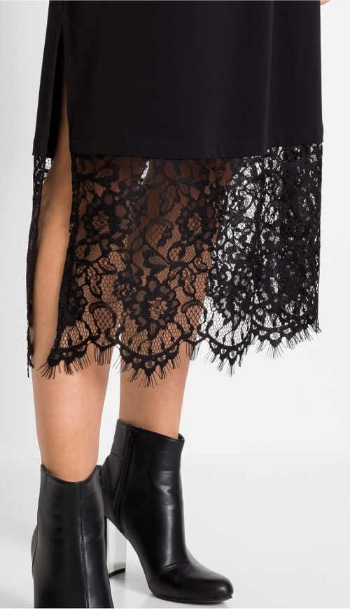 Široká čierna priesvitná kvetinová čipka v spodnej časti sukne