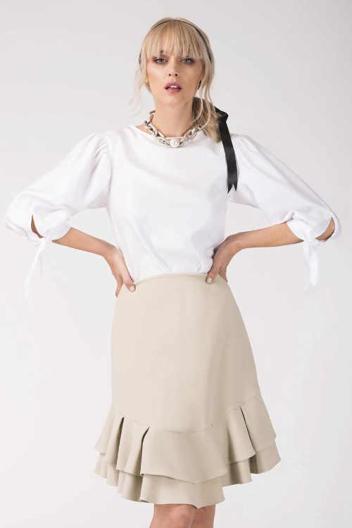 Volánová spoločenská sukňa s dĺžkou ku kolenám