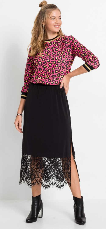 Zaujímavá čierna dámska sukňa s čipkou