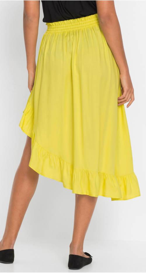Žltá dámska sukňa s volánikom