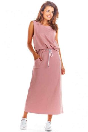 Dlhá sukňa s elastickým pásom a integrovanou šnúrkou