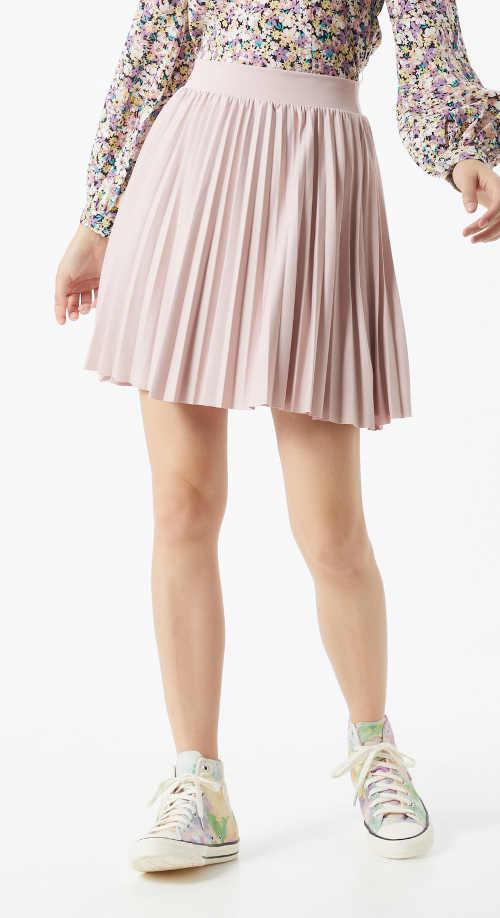 Krátka plisovaná sukňa s elastickým pásom v ružovej farbe