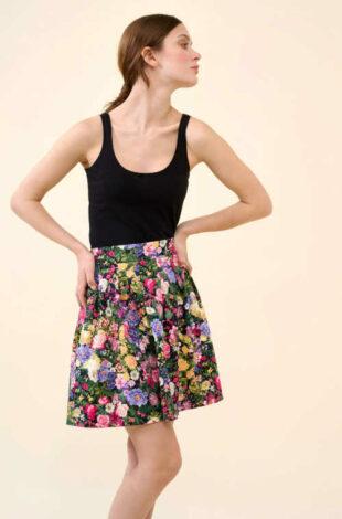 Kvetinová plisovaná sukňa v modernom strihu do A