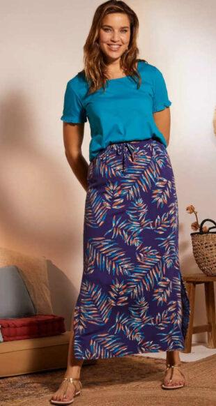 Maxi sukňa s rozparkom s modernou potlačou do pružného pásu