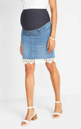 Moderná tehotenská džínsová sukňa s čipkovanými detailmi