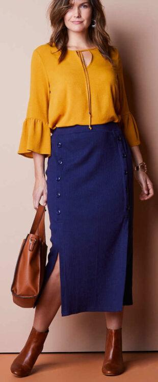 Polodlhá modrá sukňa s gombíkmi vpredu