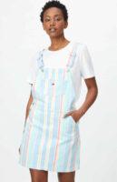 Štýlová bavlnená laclová sukňa Tommy Jeans v modernom pruhu